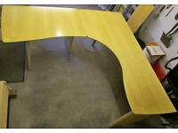 Large Beech Finish L-Shaped Curved Wooden Desk for Home or Office, Cost £1000 New