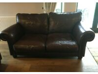 Medium Brown Leather Sofa