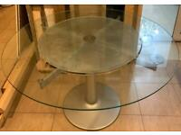 FREE Glass round dining table and 6 white leather chairs