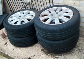 "4 x alloy jazz 15"" wheels tyres and space saver"