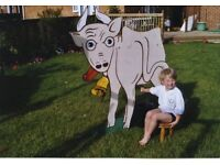 MILK THE COW wooden cut-out with support stands Fund raising School fete Company event Garden party.