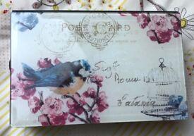 blue bird design mirrored jewellery box