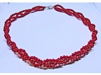 """Firebrick Red Platted Necklace 48 cm 19"""" Long"""