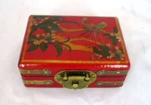 Love Birds Chinese Jewellery Box, Wooden Laquer