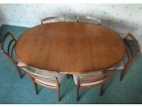 Vintage G-Plan Fresco Oval Dining Table, 6 Chairs & matching Sideboard