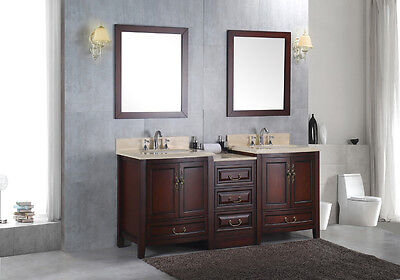 """NEW Double 72"""" Marble Bathroom Sink Vanity Solid Wood Cabinet Lavatory Furniture for sale  Shipping to Canada"""