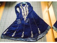 Asian Women Party Dress, size M, 3-piece, with churidar trousers + dupatta, embroidery & stonework