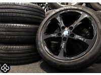 "GENUINE BMW 17"" ALLOY WHEELS & TYRES - 5 X 120 - 215 55 16 - CRYSTAL BALCK SILVER - Wheel Smart"