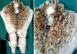 "Oakville 72"" Real Fur Stole Wrap COYOTE & FOX FUR Upcycled Brown & Cream Gorgeous Lined"