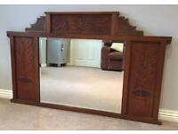 Stunning antique hand-carved wooden over mantle mirror