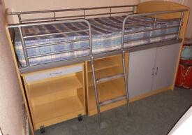 Child's Cabin Bed with Desk and Underneath Storage Plus Slumberland Mattress