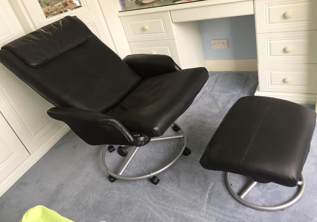 IKEA Malung Leather recliner chair and footstool - Black ...