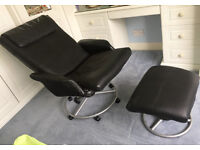 IKEA Malung Leather recliner chair and footstool - Black - Excellent condition