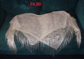 White One Size Lace Thin Poncho Great for Evenings Nights Out and Holidays