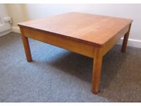 Ercol coffee table occasional table solid wood H: 33cms . Top: 70 x 70cms