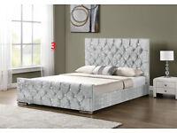 NEW Crushed velvet/chenille fabric bed frames - various models double / kingsize