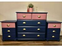 Chest of drawers and bedside tables solid wood