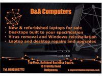 Desktop & laptop repair, upgrades, sales and virus removal.