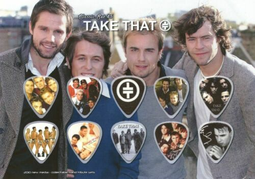 Take That Guitar Picks On Photographic Background 10 Guitar Picks