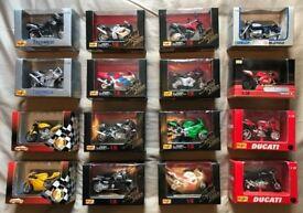 16 x 1/18 Die Cast Scale Model Motorbikes (Maisto, Majorette, Welly)