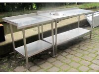 COMMERCIAL CATERING STAINLESS STEEL SINK PREPARATION TABLE & SIDE EXTENSION TABLE
