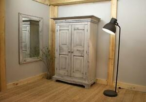 Reclaimed Wood Farmhouse Armoire $2395, Mirror $485. By LIKEN Woodworks