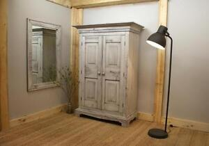 Reclaimed Wood Farmhouse Armoire $2195, Mirror $375. By LIKEN