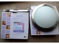 2 Juno brushed chrome, frosted glass bathroom ceiling lights. Unused and boxed with fittings