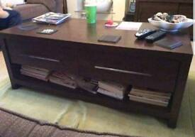 Dark wood two draw coffee table and book shelf