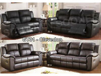 New Cheap Leather Recliner Sofa Set Reclining 3 + 2 Black or Brown