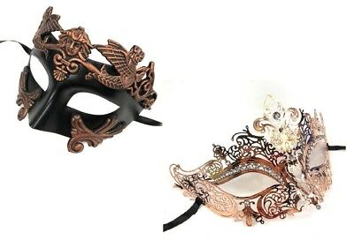 Rotgold Bronze Farbe Paar Maske Party Mardi Gras Masquerade Mask