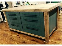 Freestanding kitchen island breakfast bar with push to open cupboards