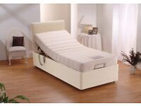 Brown 3ft Electric Bed Single Adjustable Bed With Memory Foam Mattress & Headboard