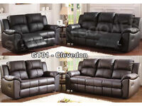 New Leather Recliner 3 + 2 Black Or Brown Reclining Sofas Cheap High Quality Quick Delivery