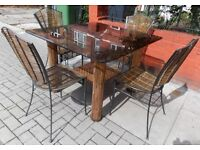 HIGH QUALITY BAMBOO RATTAN CANE STEEL & SAFETY PLATE GLASS GARDEN/ PATIO SET TABLE & 4 X CHAIRS