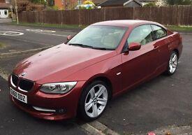 BMW 320d SE Vermillion Red with Cream Beige Dakota Leather Interior. Excellent condition
