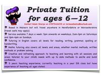 Private Tuition for Maths & English (ages 6-12)
