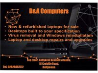 Desktop & laptop repair, upgrades, sales and virus removal.