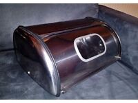 Stainless Steel Chrome Bread Rolls Storage Tin Bin Metal with a Window breadbin food container