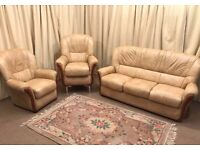 Beige Leather 3 Piece Suite Cream 3 Seater Sofa & 2 Armchairs High Wing Back