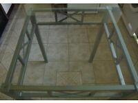 Glass Table & Two Chairs silver Grey finish