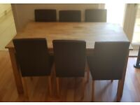 OAK DINING TABLE 6 seater CHAIRS WOODEN seats coffee tv draw wood rug bed side tablet door