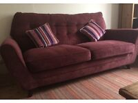 Beautiful red 3 seater sofa plus cushions