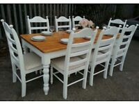 Large 7ft X 3ft Farmhouse Table And Chair Set   Bespoke   White Cream
