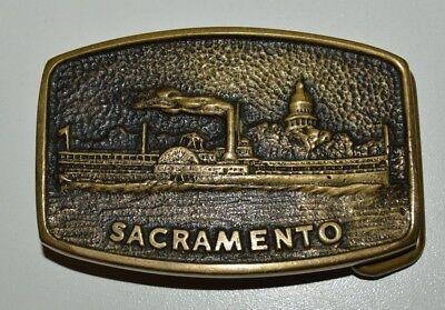 Nice Vintage Sacramento CA River Boat Delta King Solid Brass Belt Buckle RARE NM