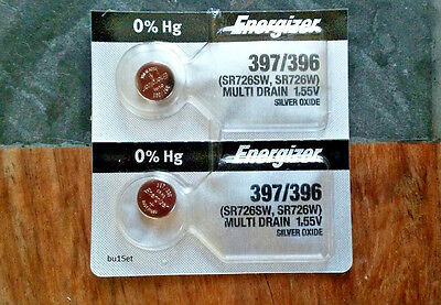 2 Energizer 397 396 SR726SW SR726W Silver Oxide  Watch Battery  Made in USA