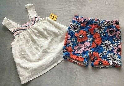 New Infant And Toddler Girls Two Piece Short Set With Embroidery Trim Pick -
