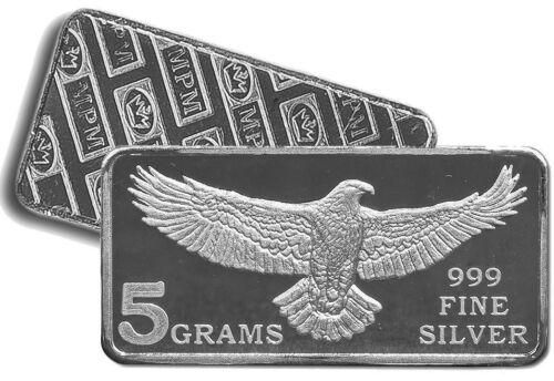 5 Grams of .999 Fine Solid Silver Bullion Bar / Monarch Struck Eagle / New