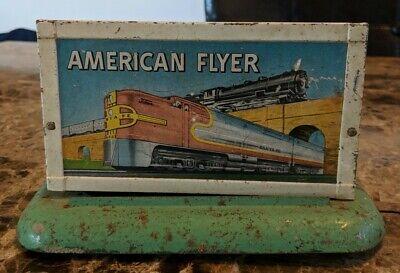 Vintage Gilbert American Flyer Train Advertising Metal Tin Litho Sign