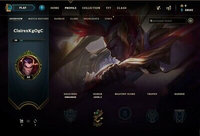 League of Legends Unranked Unverified Account NA